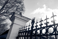 Gate in black and white Stock Photo