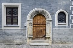 Gate in the Blue Facade. Old Facade iwith Gate and Windows in Torgau Stock Image