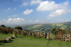 Gate on Bonehill Down, Dartmoor, Royalty Free Stock Photography