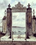 Gate with the view of bosphorus strait royalty free stock photos