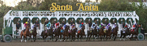 Gate Break for The Santa Anita Handicap 2012 Royalty Free Stock Photos