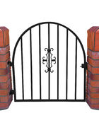 Gate with Brick Pillars. Isolated with clipping path Stock Image