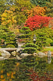 Gate, Bridge, and Pond in Japanese Garden. Pond, bridge, and wooden gate in Japanese Garden, Seattle, Washington.  Early fall. Reflections in pond.  Vertical Royalty Free Stock Photography