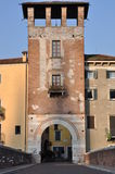 The gate on the bridge of St  Peter in Verona Royalty Free Stock Photos