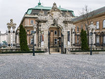 The gate of the Buda castle in Budapest on a cloudy spring day Royalty Free Stock Images