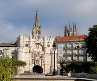 Gate Burgos. Burgos is a Spanish city located in the autonomous community of Castile and León. The city of Burgos is located in the center of the province of Royalty Free Stock Photography