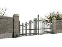 Gate with bushes. Illustration of a gate with bushes Royalty Free Stock Photography
