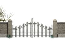 Gate with bushes. Illustration of a gate with bushes Stock Image