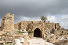 Gate - Caesarea - Israel. Ruins of the entrance gate - Caesarea - Israel royalty free stock photos