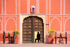 Gate with cannons at Chandra Mahal in Jaipur City Palace, Rajast Stock Photography