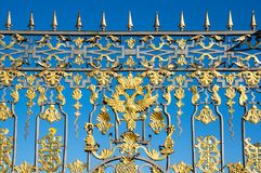 The gate of Catherine Palace. A Rococo palace located in the town of Tsarskoye Selo Pushkin, Saint- Petersburg, Russia royalty free stock photos