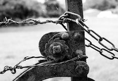 Gate and chains. Black and white Royalty Free Stock Image