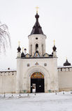 Gate Chapel of Holy Assumption Monastery in Staritsa, winter Royalty Free Stock Photo