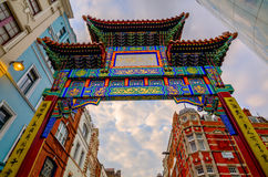 Gate of Chinatown in London, UK, at dusk Royalty Free Stock Image