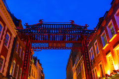 Gate of Chinatown in London, UK, at night Stock Photos