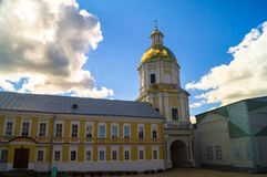 Gate Church of the St. Apostles Peter and Paul and the Abbot`s residence with museum in the Nilov Monastery on the lake Seliger, T. The island Stolobny on the Stock Image