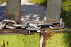 Gate Closed by Chain Stock Photo