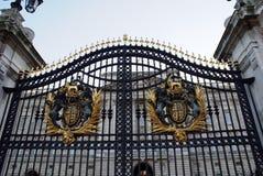 Gate with coat of arms, Buckingham Palace, London, England Stock Image