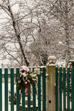 Gate covered by snow on christmas time Stock Images