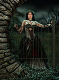At the Gate. 3d computer graphics of a woman with a gothic fantasy gown and a wreath on her head Royalty Free Stock Images