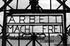 Gate at the Dachau Concentration Gate. Arbeit Macht Frei work set free at the Dachau Concentration Gate Royalty Free Stock Photo