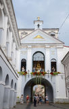 The Gate of Dawn( Ausros gate) with basilica The chapel of Our Lady(Madonna Ostrobramska) in Vilnius, Lithuania. Royalty Free Stock Photo
