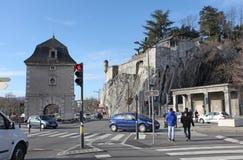 Gate de France and fort of Grenoble. Gate de France and fort in Grenoble, March, 2015 Royalty Free Stock Photos