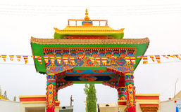 The gate. Decoration of the main gate of a Buddhist temple Stock Photo