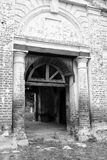 Gate of destroyed church. Gate of destroyed Church of St. Nicholas in the village Priluki, near Vologda, Russia Royalty Free Stock Image