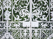 Gate detail. Close up of a wrought iron gate showing lock Royalty Free Stock Photography