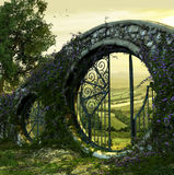 Gate Entrance to Enchanted Garden. 3D render of a gate wall to a beautiful enchanted garden like landscape at dawn Stock Image