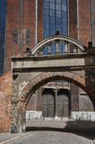 The gate and the entrance to the Gothic cathedral St. Mary`s Church Royalty Free Stock Images