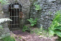 Gate entrance to a mine in ore mountains Stock Photo