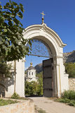 Gate before the entrance to the monastic grounds.Uspensky cave monastery in Bakhchisarai. Crimea Stock Photography