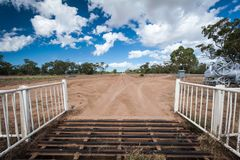 Gate and entrance to an outback station in Lightning Ridge, Australia stock photos