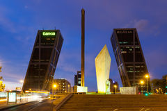 Gate of Europe in night. Madrid, Spain Stock Photography