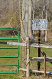 Private Property. Gate, fence, and private property sign. No trespassing Stock Photography