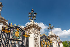 Gate, fence and street lamp. Metal Gates, fence and street lamp. Buckingham Palace, London, England stock photo