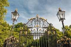 Gate, fence and street lamp. Metal Gates, fence and street lamp. London, England stock images