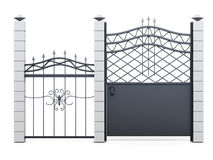 Gate and fence on white background. 3d rendering royalty free illustration