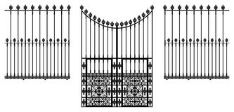 Gate and Fences. Wrought iron ornamental gate and fences illustration Royalty Free Stock Photo