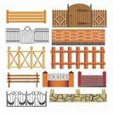 Gate, fences and hedges metal, stone, wood vector icons set Stock Photos
