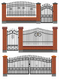 Gate, Fences With Bricks And Metal Lattice. Royalty Free Stock Photography