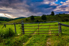 Gate in a field at Moses Cone Park on the Blue Ridge Parkway in Royalty Free Stock Image