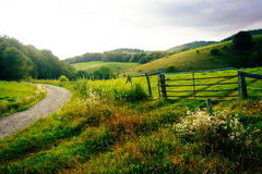 Gate in a field at Moses Cone Park on the Blue Ridge Parkway in Stock Photo