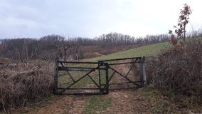 Gate on field in village Stock Images