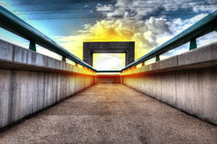 Gate with fire ring in the sky Stock Photos