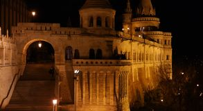 Gate of Fisherman`s bastion. North gate of Fisherman`s bastion in Budapest at night Stock Photo
