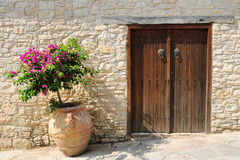 Gate and flower in pot. On street in Omodos village, Cyprus royalty free stock image