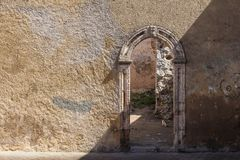 Gate in fortification, El Jadida, Morocco. Historical heritage, portuguese fortress on the coast of Atlantic ocean. Door in the fortification wall. El Jadida Stock Photo